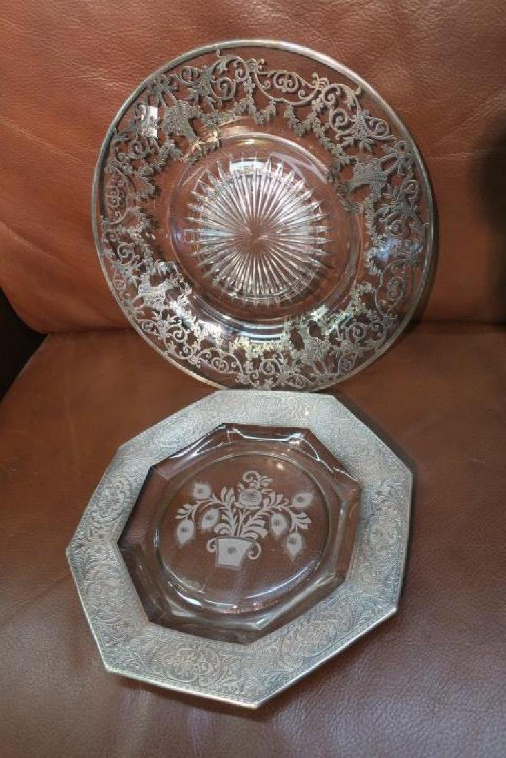 Murano Etched Mirror Tray, Two Silver Overlay Plates: - 2