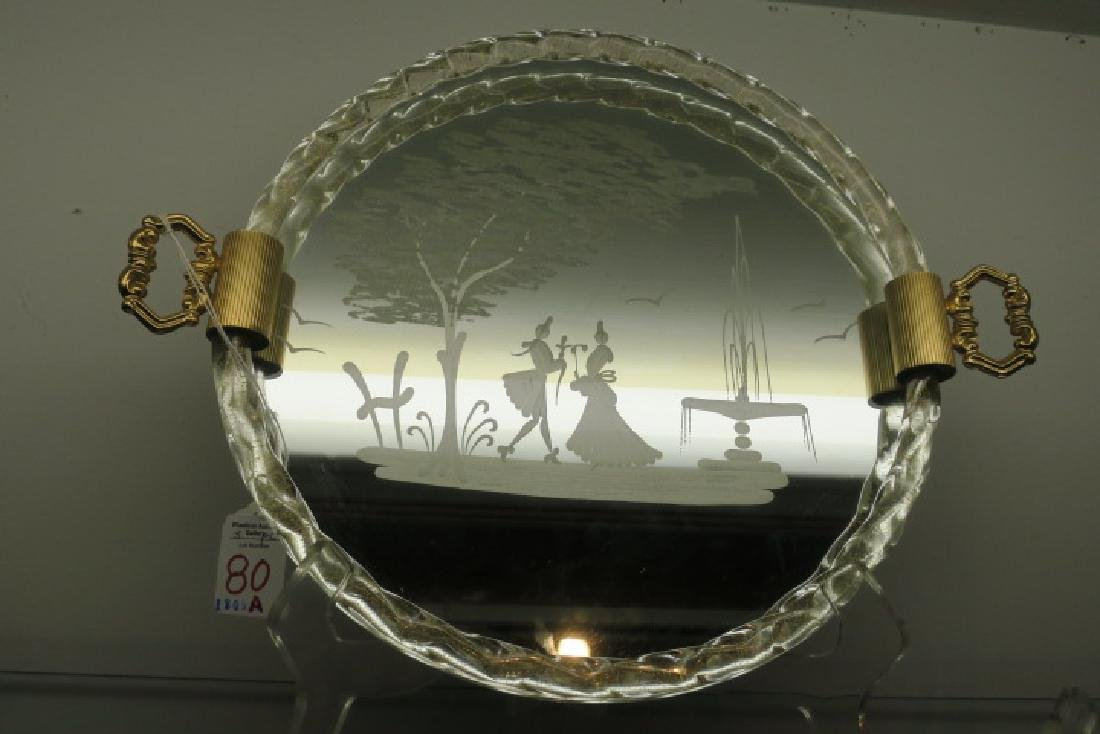 Murano Etched Mirror Tray, Two Silver Overlay Plates: - 3