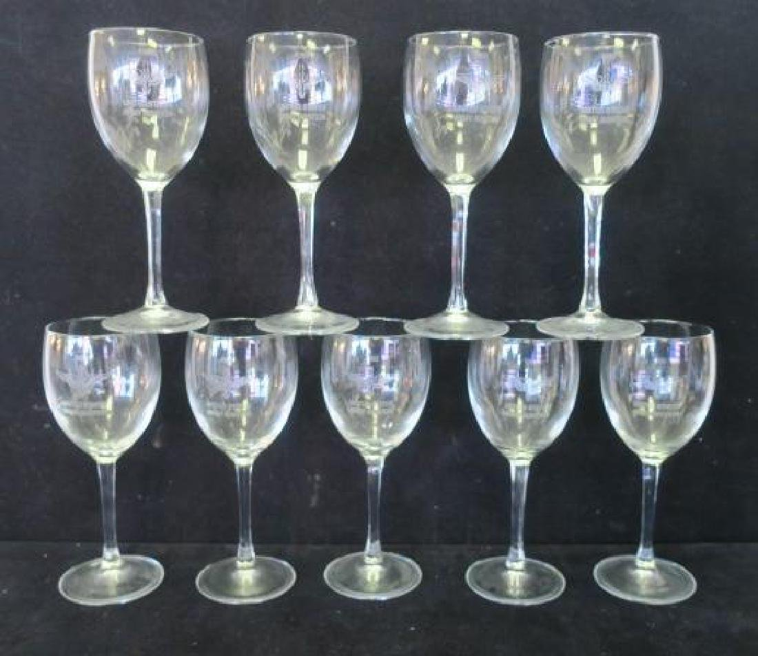 Eleven Etched 1993 US Army AVIATION Red Wine Stems: