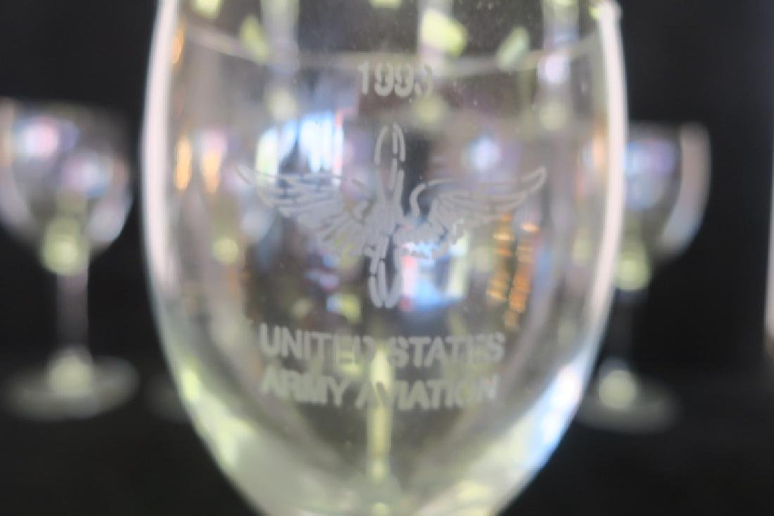 Eleven Etched 1993 US Army AVIATION Red Wine Stems: - 2