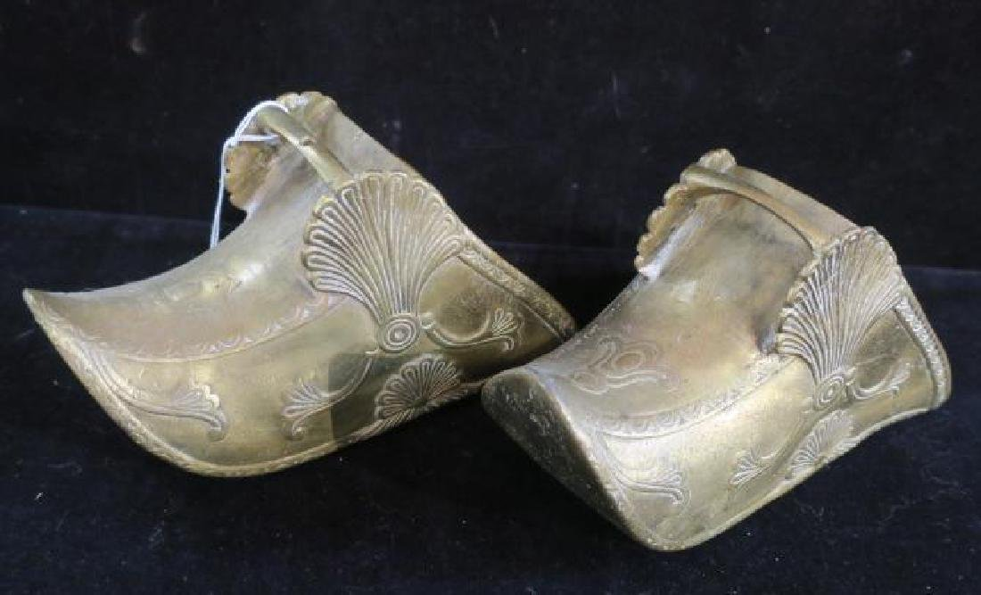 Pair of Brass Stirrups in the Persian Style:
