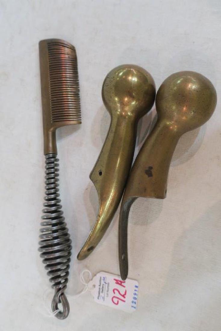 Brass Horse Comb and Ball Hames Caps: