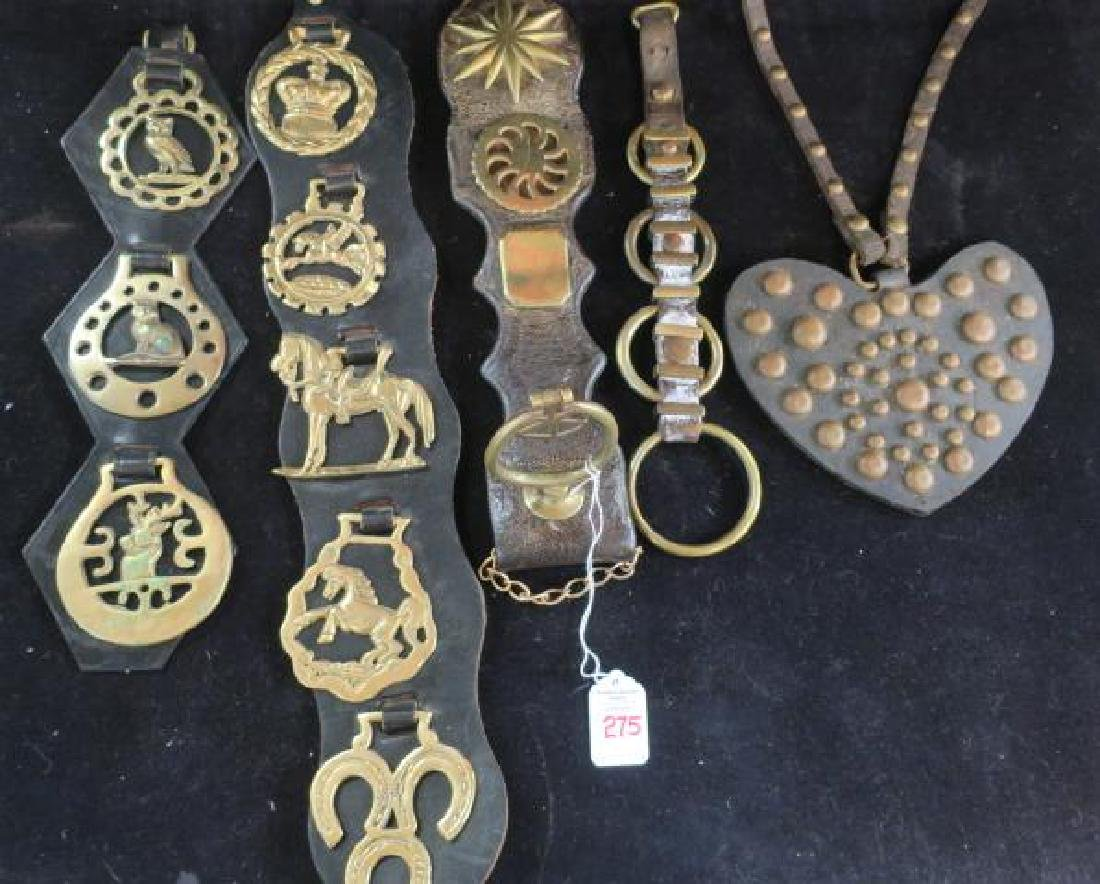 Five Leather and Brass Harness Tack Decorations: