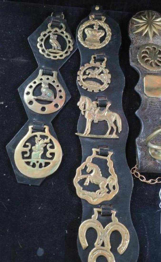 Five Leather and Brass Harness Tack Decorations: - 2