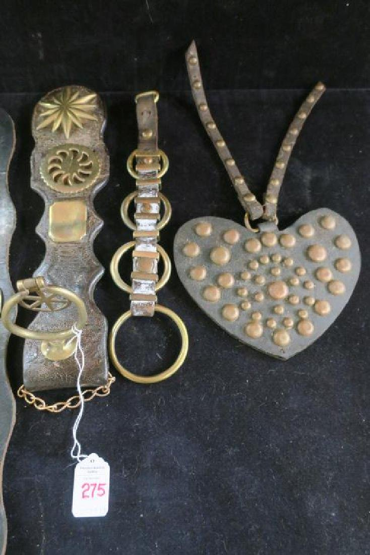 Five Leather and Brass Harness Tack Decorations: - 3