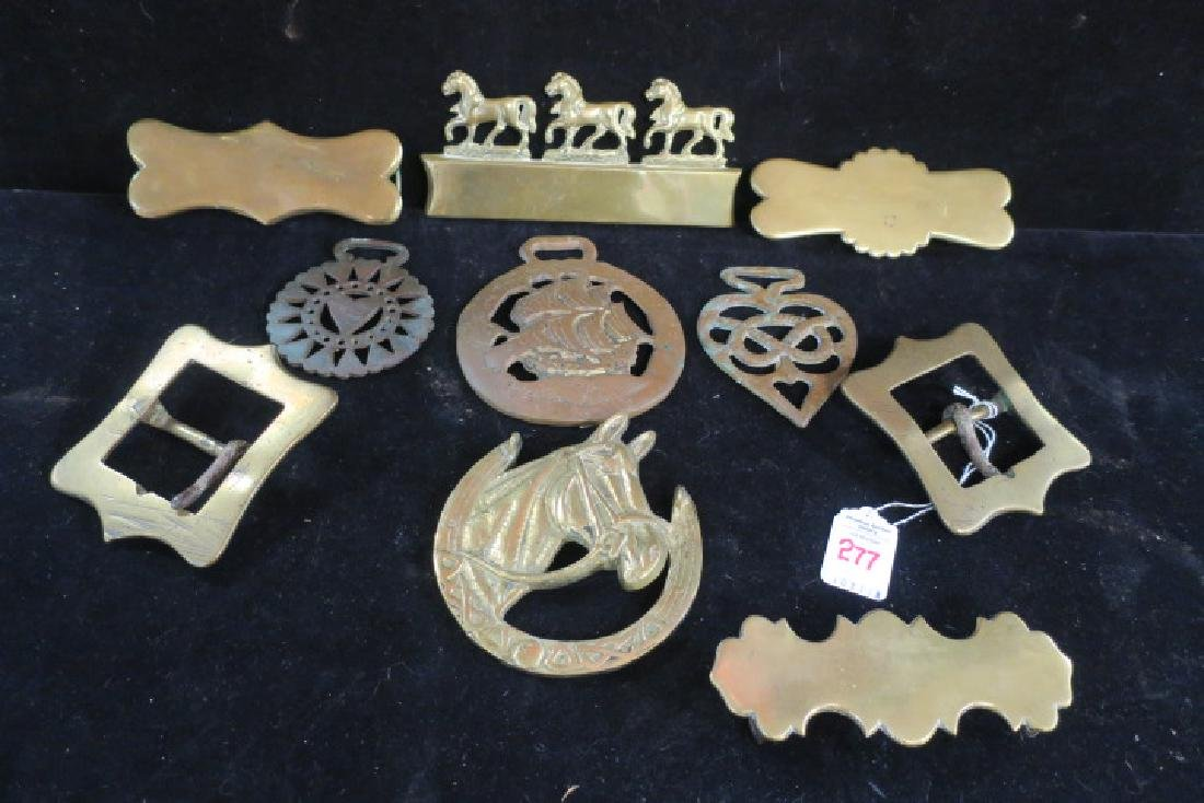 Eleven Brass Decorative Pieces for Coach or Harness: