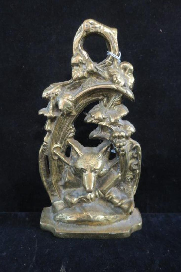 Fox Hunting Motif Brass Doorstop: