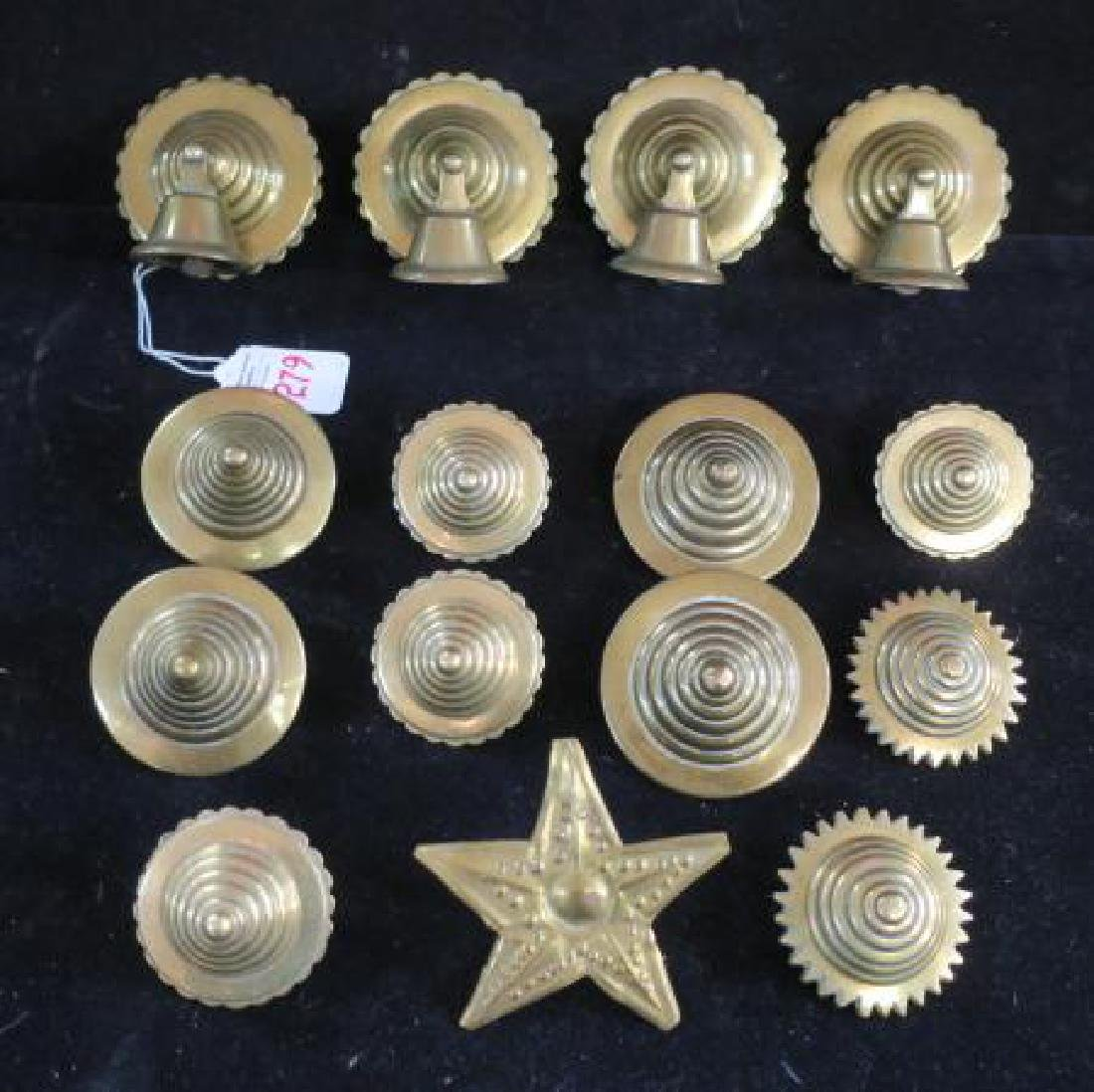 Fifteen Brass Beehive Style Tack Decorations & Bells: