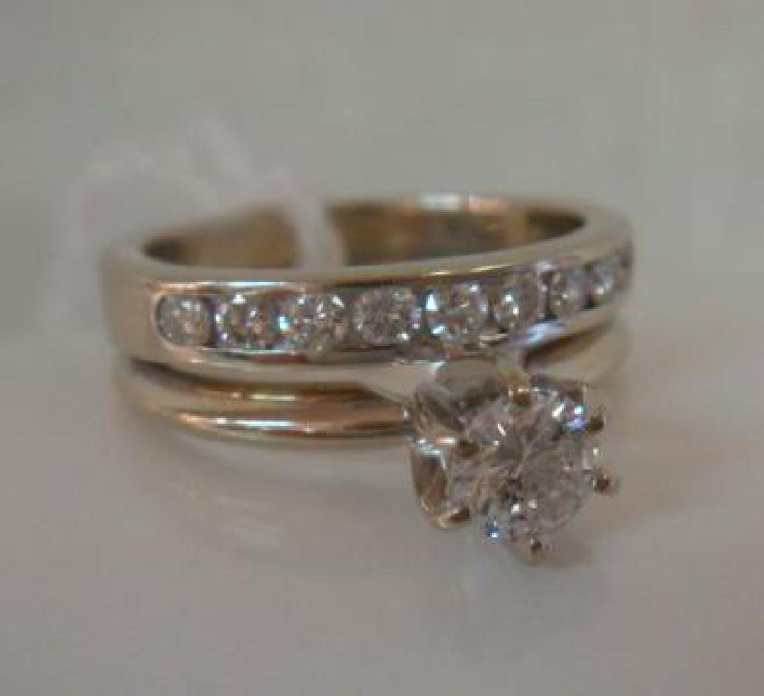 14K WG Ladies Wedding Set: Solitaire Ring with Band: