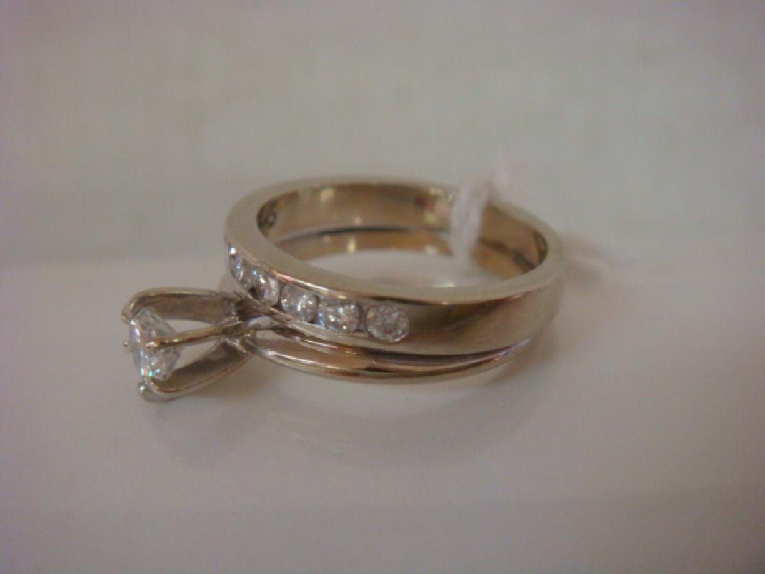 14K WG Ladies Wedding Set: Solitaire Ring with Band: - 2