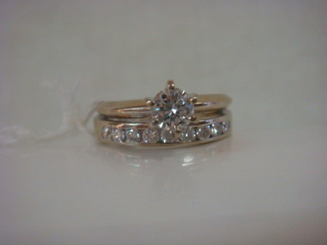 14K WG Ladies Wedding Set: Solitaire Ring with Band: - 3