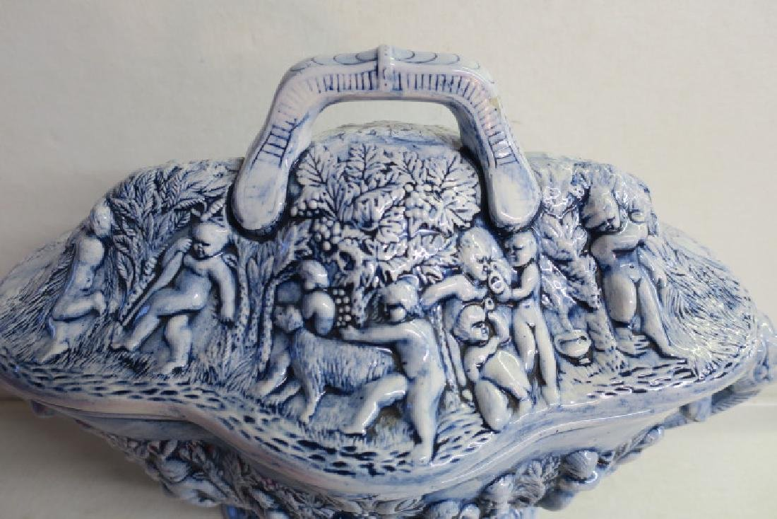 Blue Porcelain Tureen with Open Mask Handles: - 2