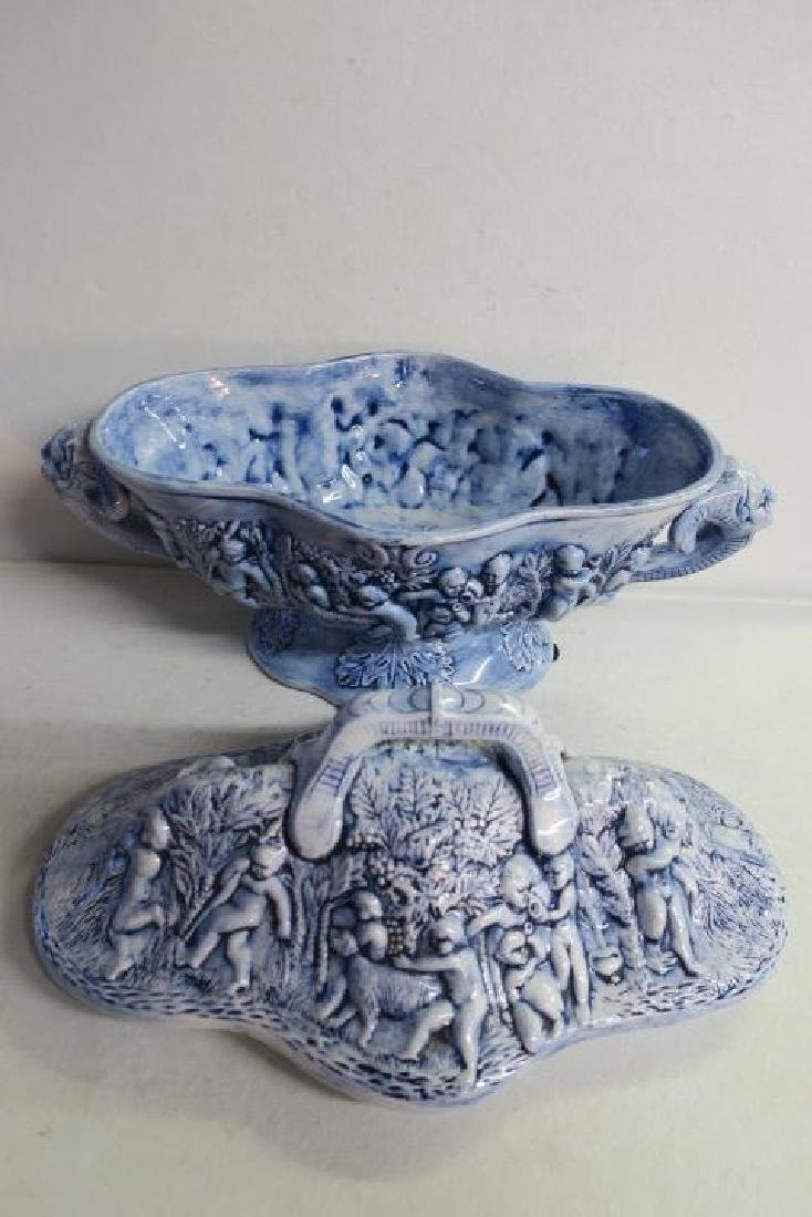 Blue Porcelain Tureen with Open Mask Handles: - 5