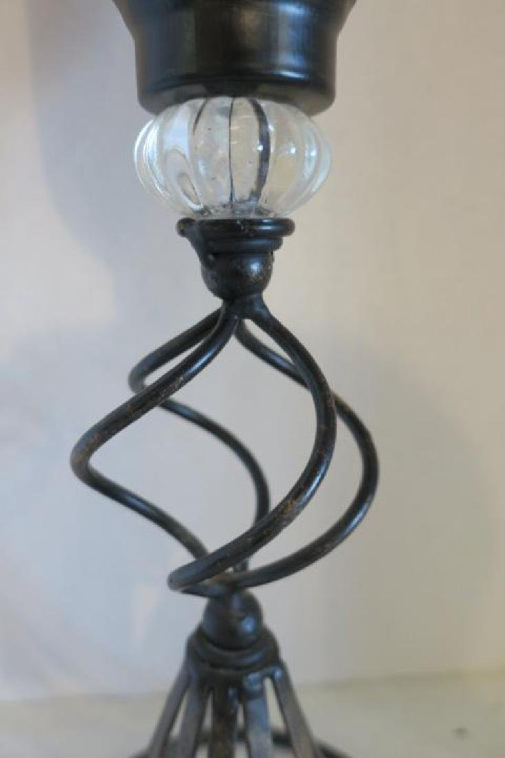 Metal Base Candle Holder with Red Glass Shade: - 2