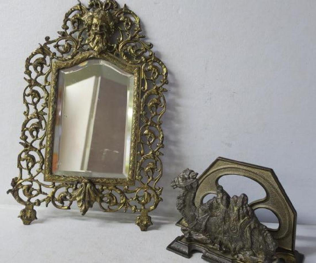 Brass Wall Mirror and Camel Letter Holder: