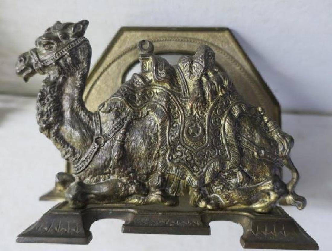 Brass Wall Mirror and Camel Letter Holder: - 3
