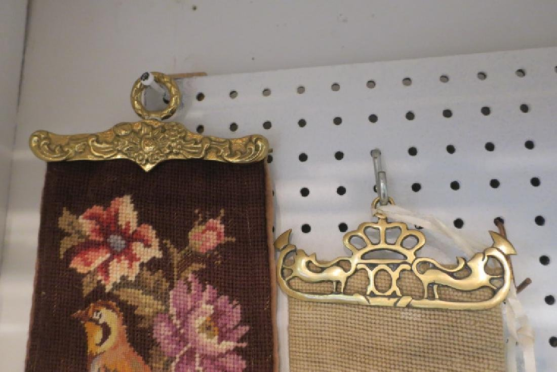 Two Vintage Needlepoint & Petit Point Bell Pulls: - 2