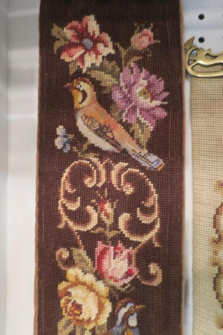 Two Vintage Needlepoint & Petit Point Bell Pulls: - 3