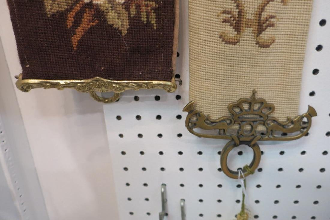 Two Vintage Needlepoint & Petit Point Bell Pulls: - 4