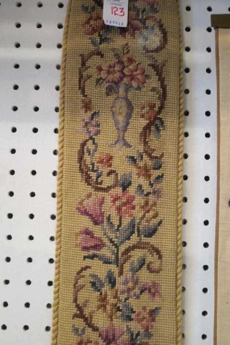 Two Bell Pulls, One Embroidered, One Needlepoint: - 4