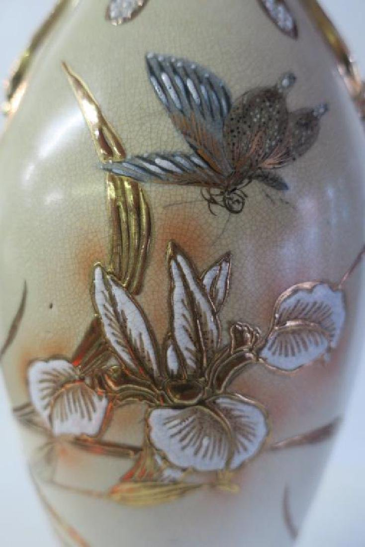 Large Ceramic Vase with Enamel and Gold Decoration: - 3