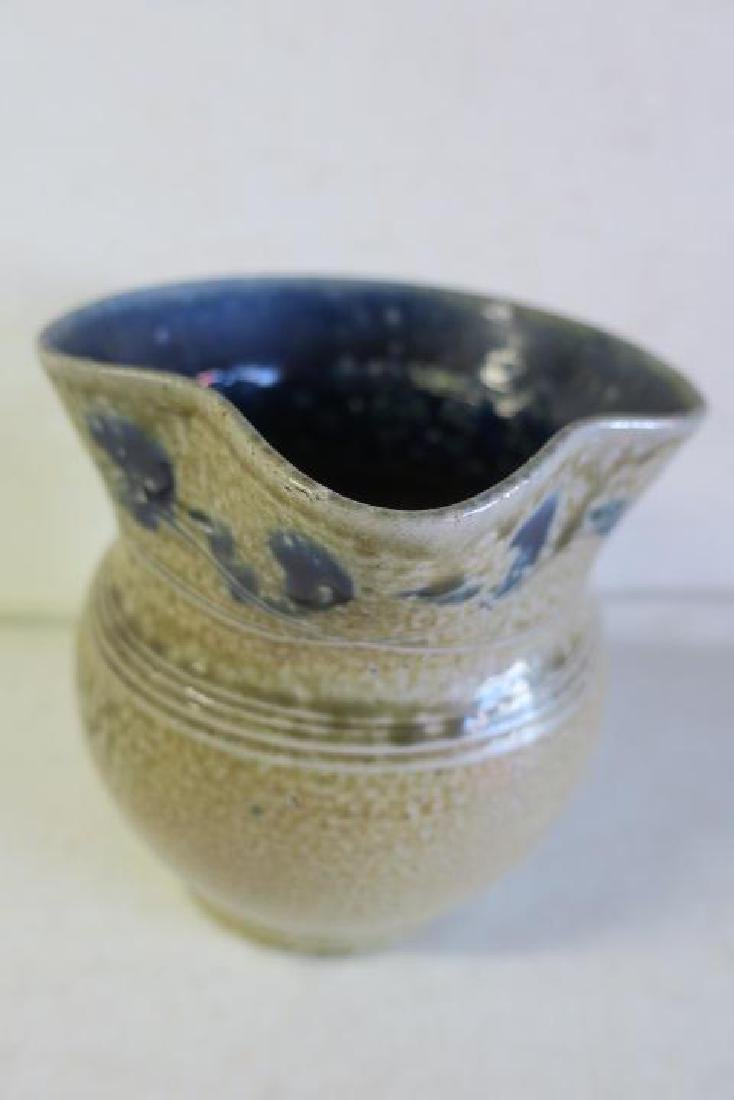 JUGTOWN POTTERY Bulbous Pitcher and Candlestick: