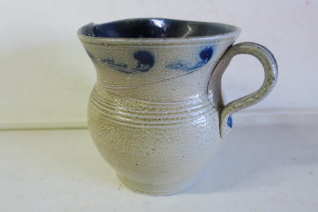 JUGTOWN POTTERY Bulbous Pitcher and Candlestick: - 2