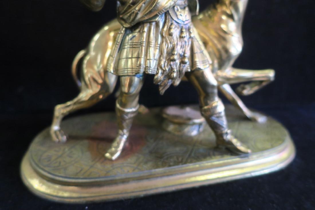 Gilt Bronze/Brass Scottish Lad with Whippet: - 3