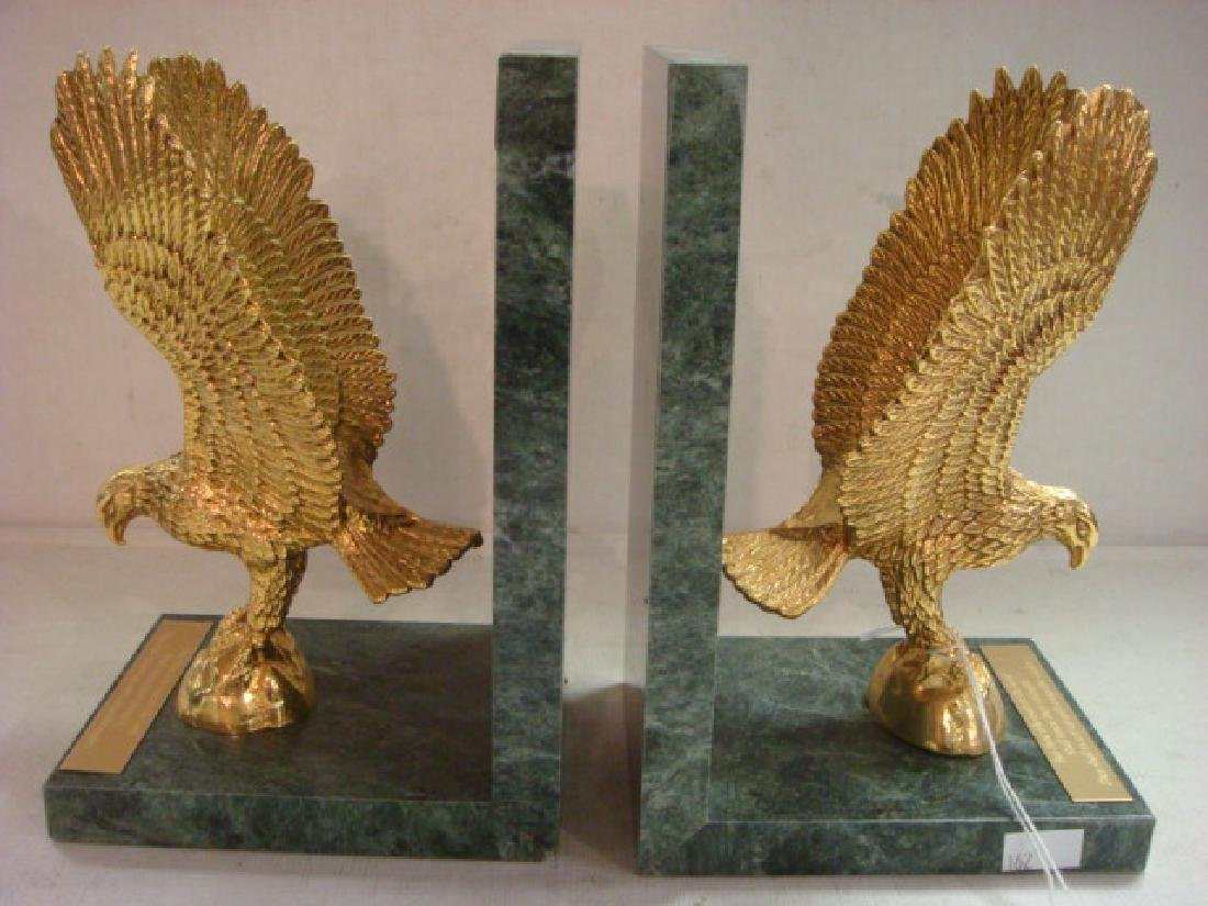 Brass & Marble Eagle Bookends from Crystal Cathedral: