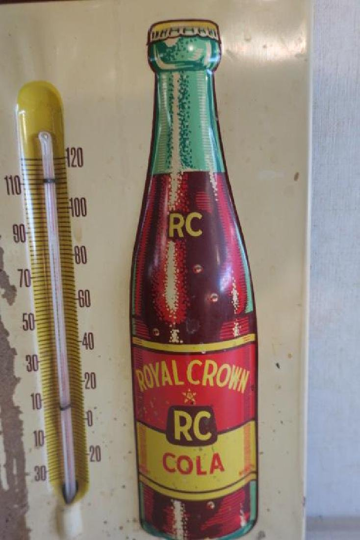 Mid-Century ROYAL CROWN COLA Tin Litho Thermometer: - 4