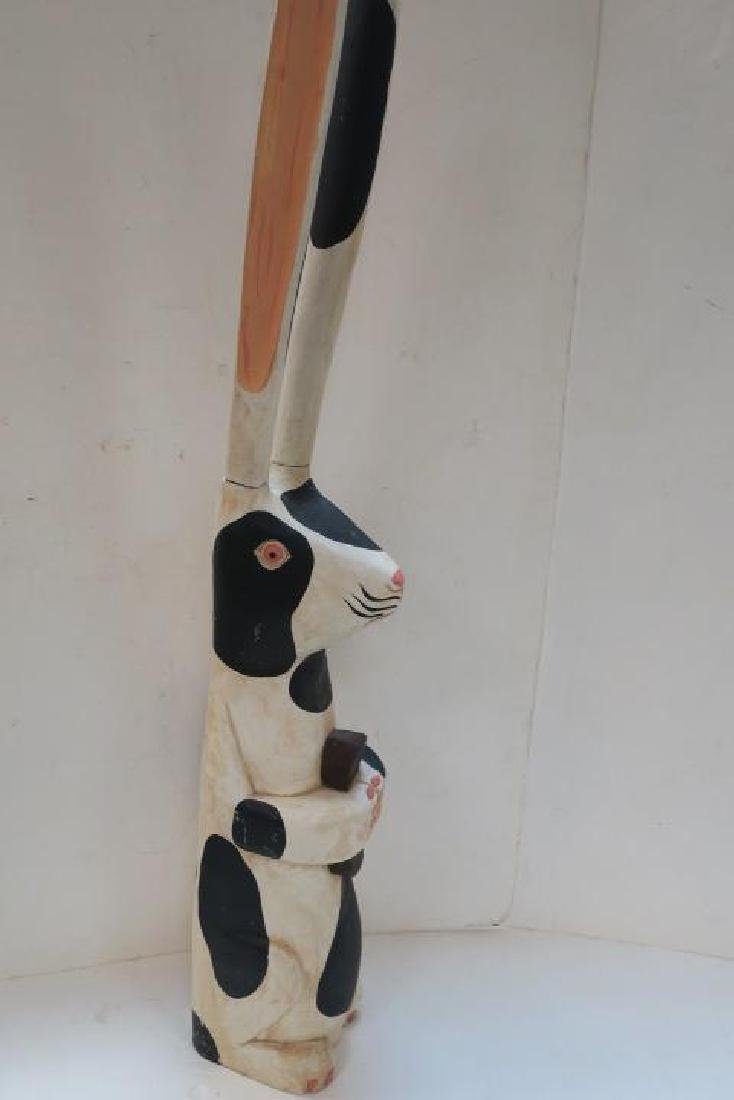 Friendly Up-Standing Hand Painted Wooden Rabbit: - 3