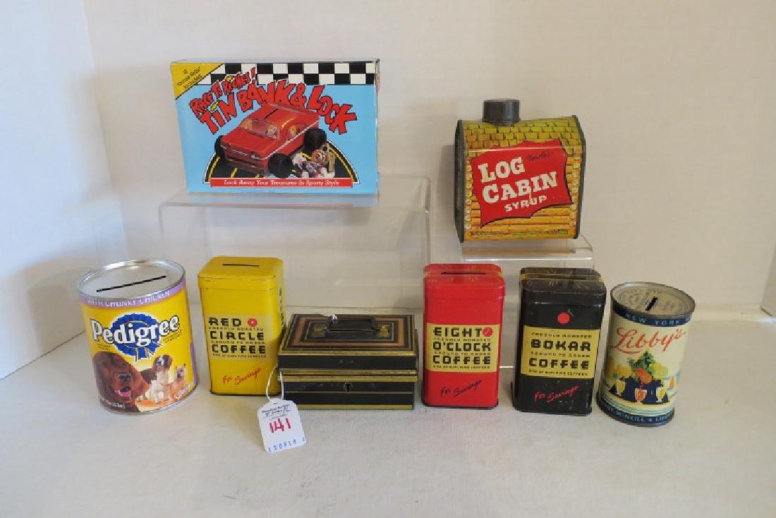 Eight Vintage Tin Litho Banks: