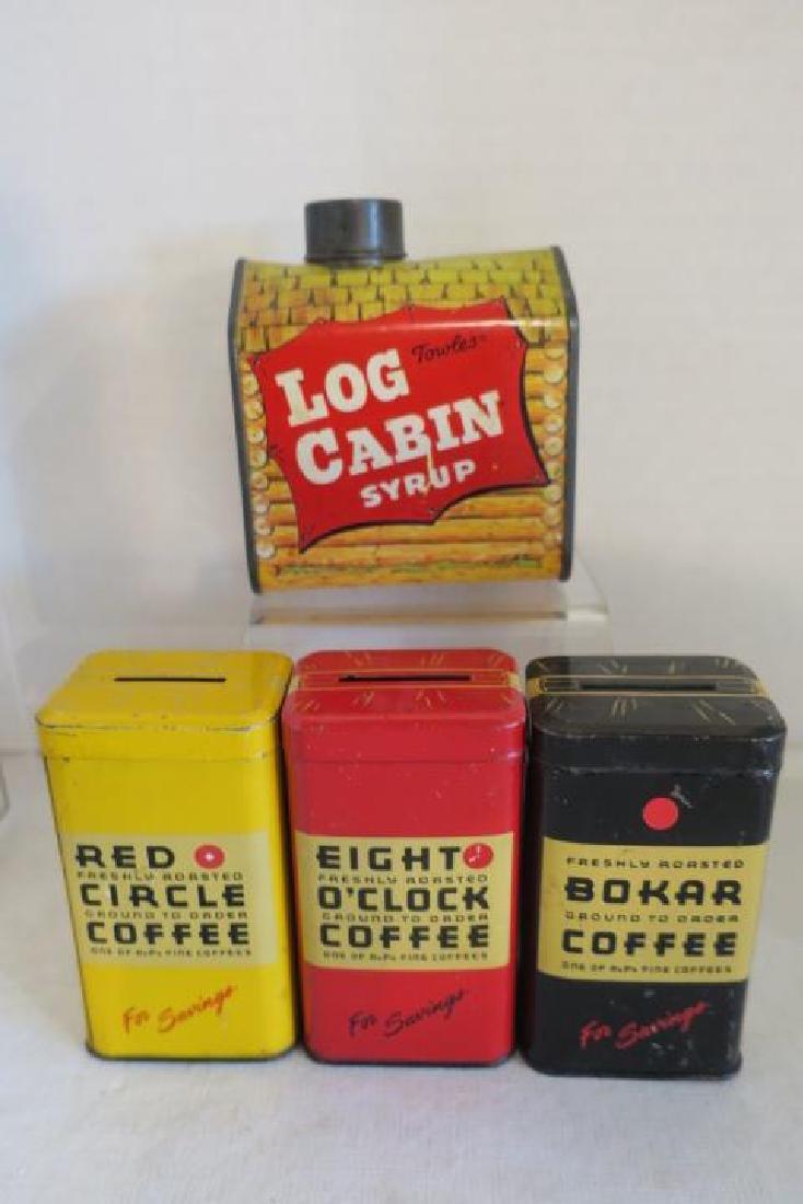 Eight Vintage Tin Litho Banks: - 2