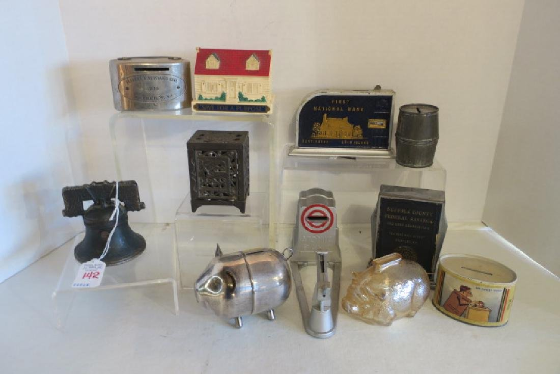Collection of Eleven Vintage and Antique Penny Banks: