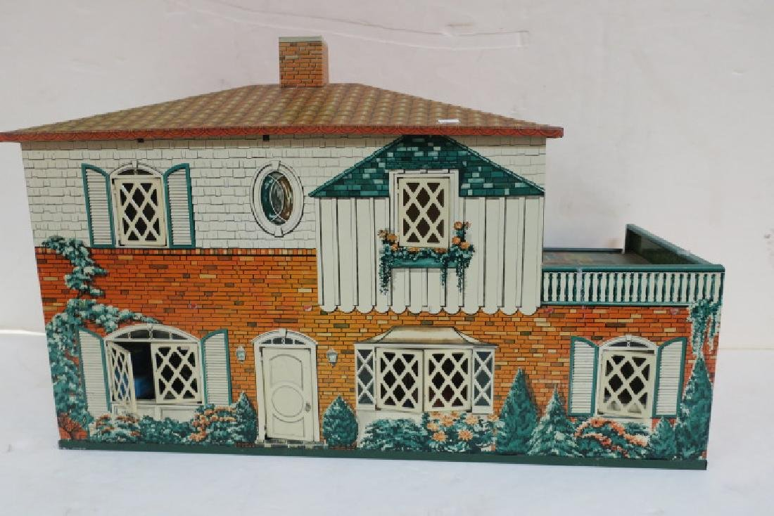 T. COHN 1948 Tin Litho Doll House with Furniture:
