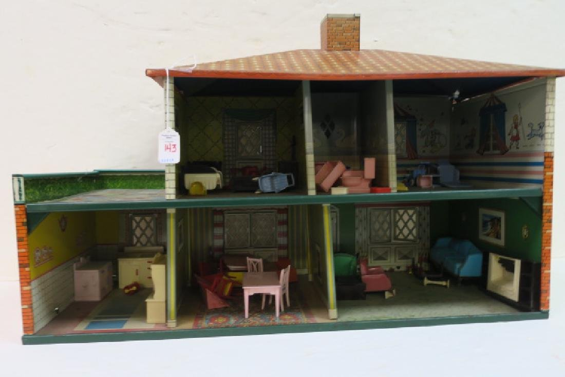T. COHN 1948 Tin Litho Doll House with Furniture: - 2