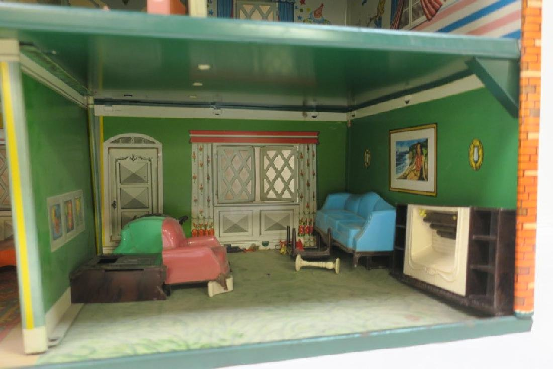 T. COHN 1948 Tin Litho Doll House with Furniture: - 4