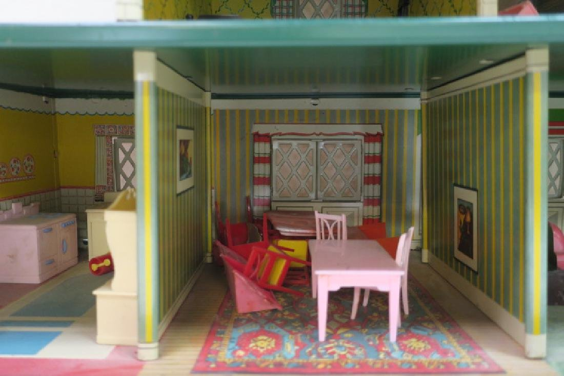 T. COHN 1948 Tin Litho Doll House with Furniture: - 5