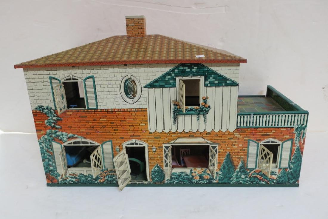 T. COHN 1948 Tin Litho Doll House with Furniture: - 6