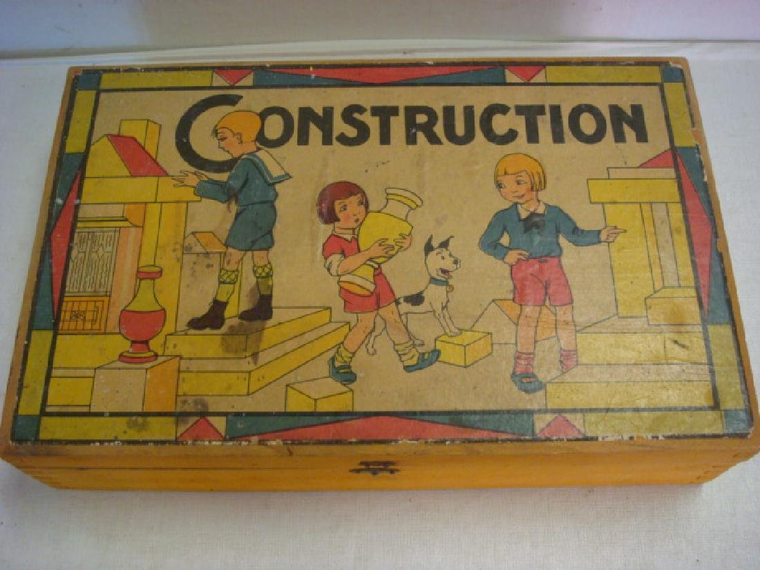 "CA 1920 Vintage French ""CONSTRUCTION"" Blocks Set:"