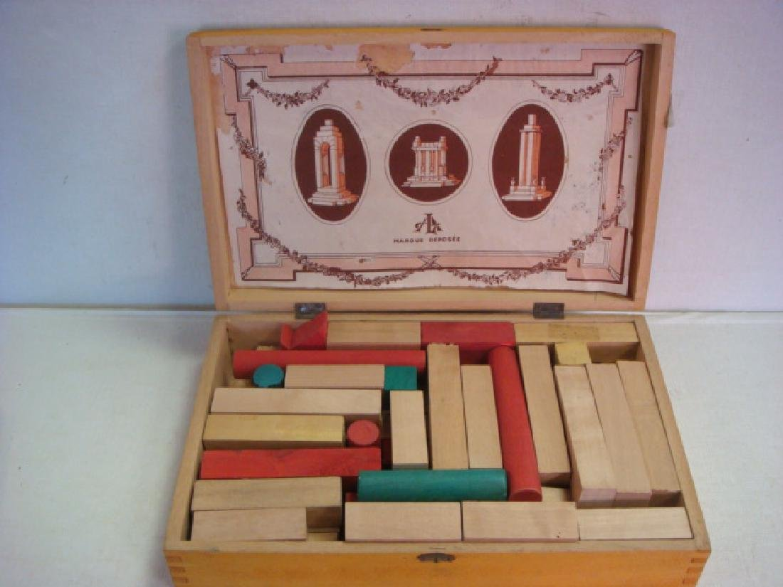 "CA 1920 Vintage French ""CONSTRUCTION"" Blocks Set: - 2"