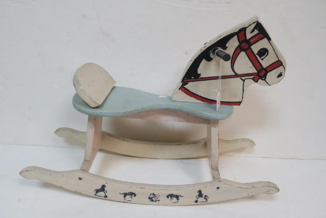 Small Painted Wooden Rocking Horse, Ca 1950: