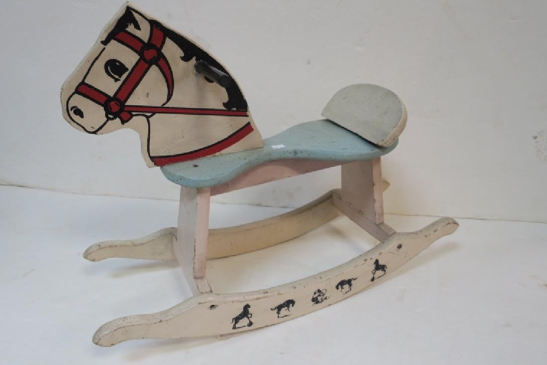 Small Painted Wooden Rocking Horse, Ca 1950: - 4