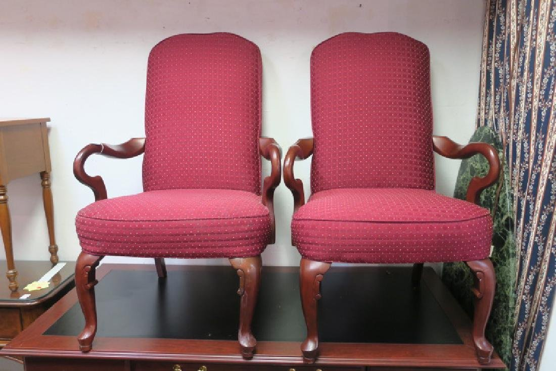 Pair of HAVERTY'S Upholstered High Back Arm Chairs: