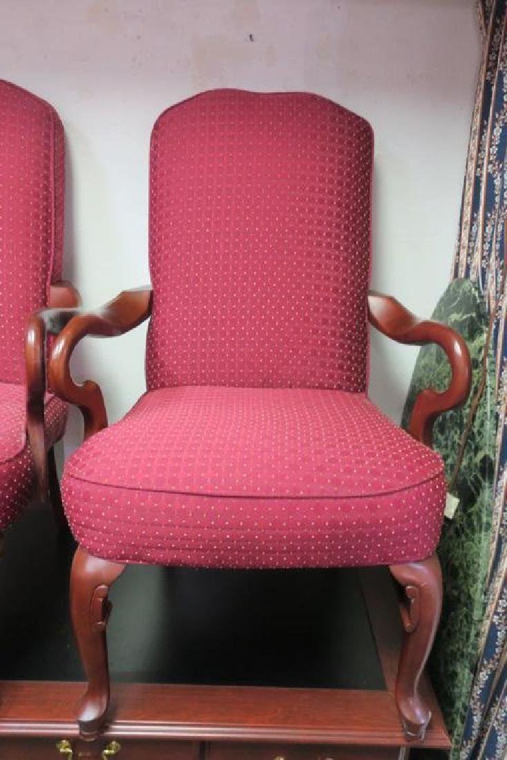 Pair of HAVERTY'S Upholstered High Back Arm Chairs: - 4