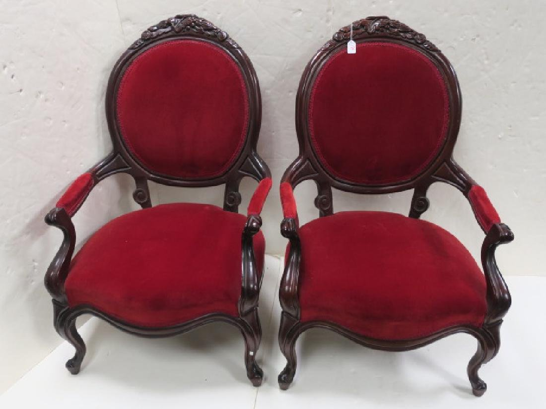 Pair of 19th C. Mahogany Framed Arm Chairs: