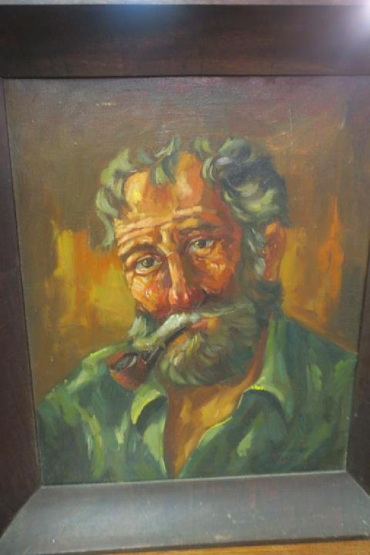 Oil on Canvas Portrait of Bearded Man with Pipe: