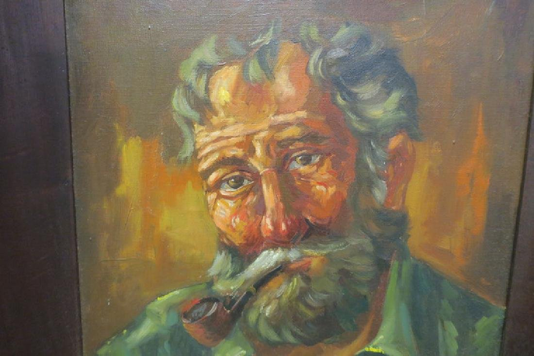 Oil on Canvas Portrait of Bearded Man with Pipe: - 2