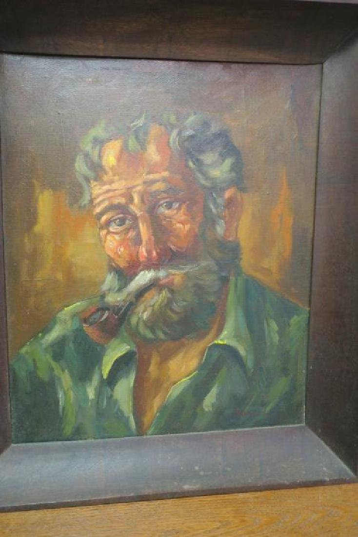 Oil on Canvas Portrait of Bearded Man with Pipe: - 4