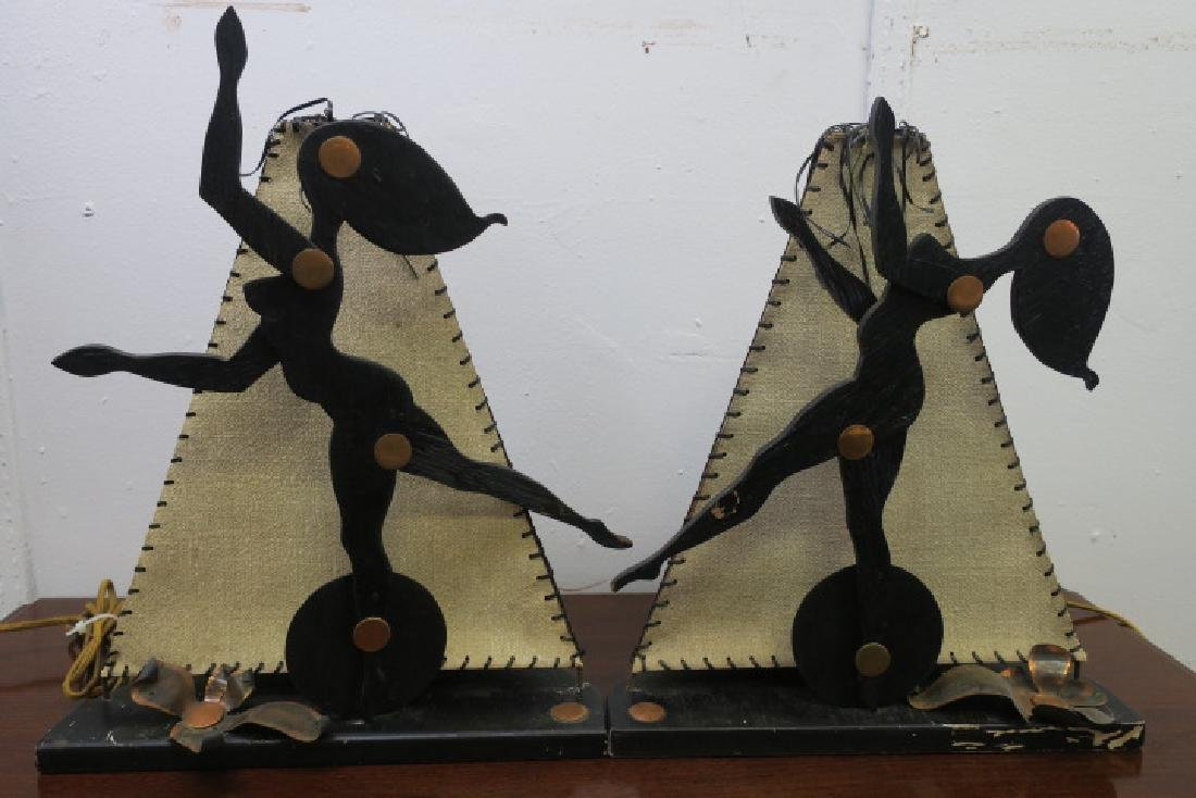 Novelty Pair of Handmade Dancing Damsel Wooden Lamps: